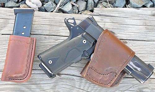 Author's carry pistol Carry pistol in a Yaqui slide and magazine pouch made by Simply Rugged Holsters (www.simplyrugged.com)