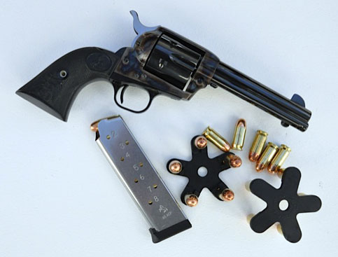 The .45ACP Single Action Army Colt can be reloaded with loose rounds, ammo thumbed out of a 1911 magazine, or with Quick Stars from Tuff Products