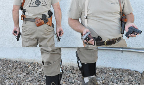 The nine pistols are carried in different configurations. The pistols in the author's hands are carried in his pockets.