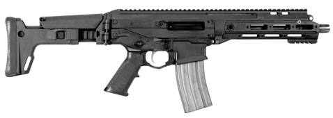 The Remington ACR-PDW comes in black, seen here with its stock extended.